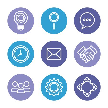 set of business strategy teamwork information over white background, vector illustration  イラスト・ベクター素材
