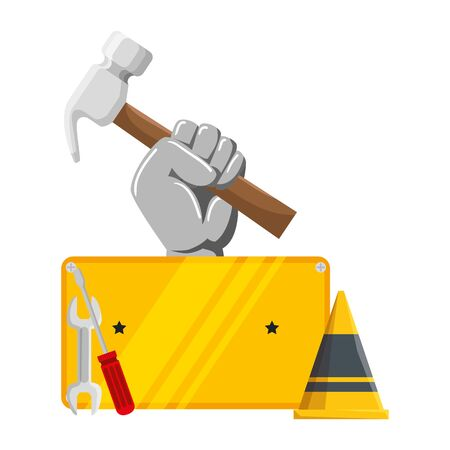 hand with hammer and set tools vector illustration design Reklamní fotografie - 128861913