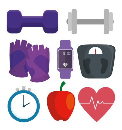 set of fitness lifestyle and healthy sport activity over white background, vector illustration Ilustracja
