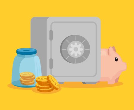 glass bottle with coins money and strong box with piggy over yellow background, vector illustration