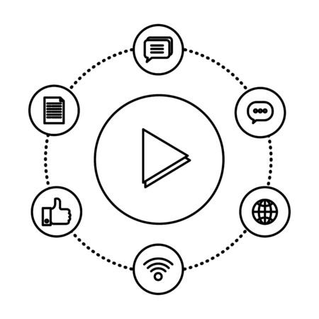 media player button and social marketing vector illustration design Illustration