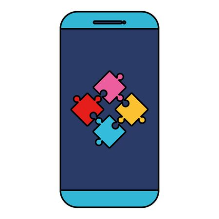 smartphone with puzzle game pieces solution vector illustration design