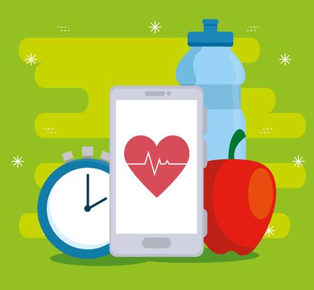 water bottle and smartphone technology with heartbeat over green background, vector illustration