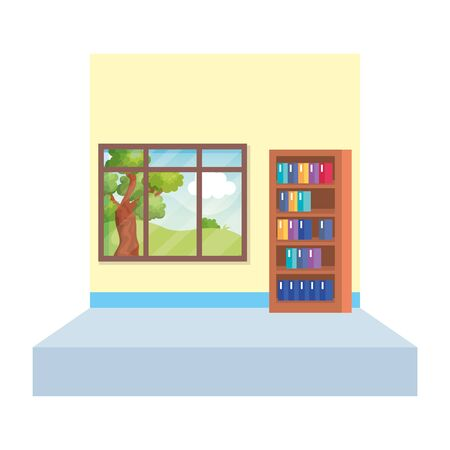 school classroom with bookscase scene vector illustration design