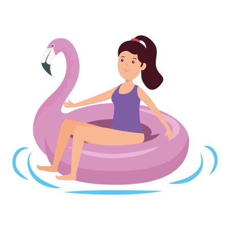 happy young girl with flemish float character vector illustration design