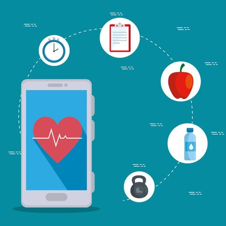 smartphone technology with heartbeat to sport activity over blue background, vector illustration