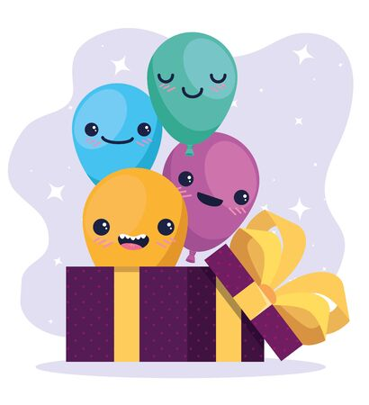 happy balloons inside present gifts decoration to happy birthday, vector illustration