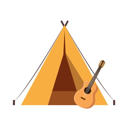 tent camping with guitar instrument vector illustration design