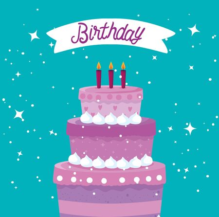 sweet cake with candles and ribbon to happy birthday over blue background, vector illustration Illusztráció