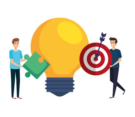 young men lifting target and bulb vector illustration design