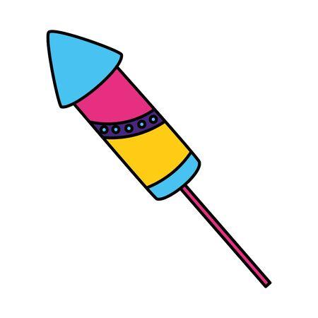 carnival rocket fireworks on white background vector illustration Banco de Imagens - 128874132