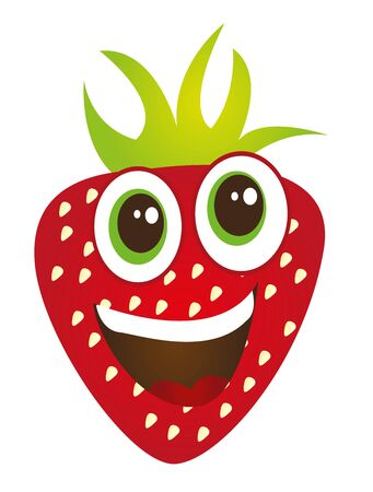cute strawberry cartoon isolated over white backrground. vector Stock Illustratie