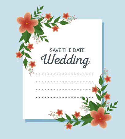wedding card with flowers and branches leaves to event vector illustration