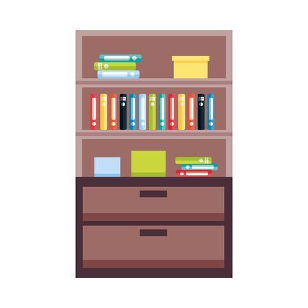 bookshelf furniture books on white background vector illustration Zdjęcie Seryjne - 128880683