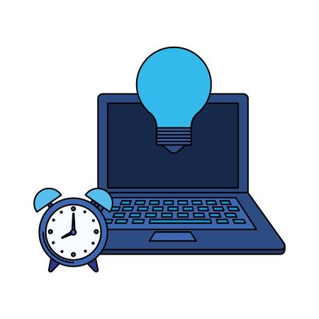 laptop computer with bulb light vector illustration design Ilustrace
