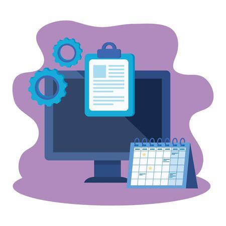 desktop computer with calendar reminder vector illustration design