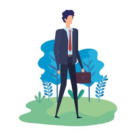 elegant businessman worker in the camp vector illustration design Stock Illustratie