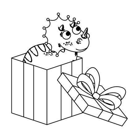 cute triceratops in giftbox present vector illustration design Stock Illustratie