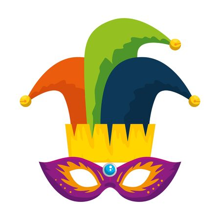 carnival mask with joker hat vector illustration design  イラスト・ベクター素材
