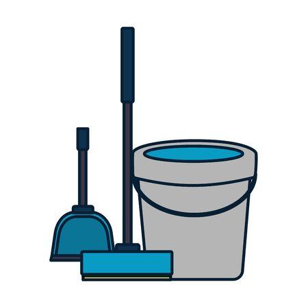 Balai seau outils de nettoyage de printemps vector illustration