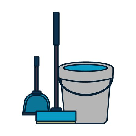 bucket broom spring cleaning tools vector illustration