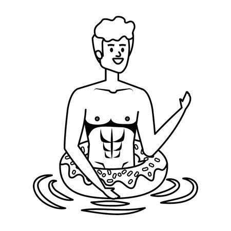 young man with swimsuit and float donut vector illustration design Illusztráció