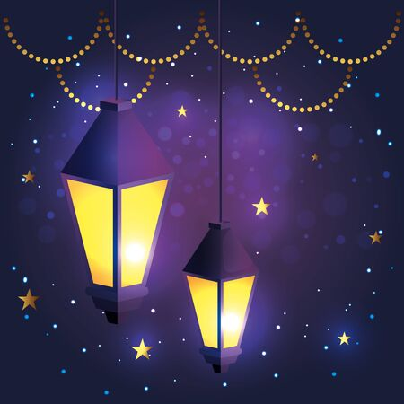 lights lamps hanging decoration to festival vector illustration