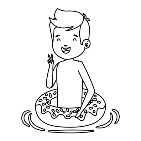 cute little boy with swimsuit and donut float vector illustration design