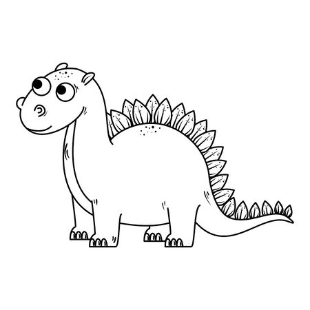 cute diplodocus comic character icon vector illustration design