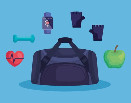 bag with apple and heartbeat with dumbbell and smartwatch over blue background, vector illustration Illustration