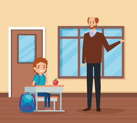 male teacher with student boy in the school scene vector illustration design