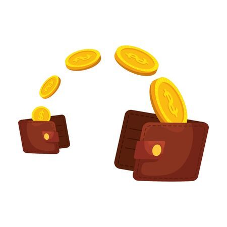 wallets money with coins dollars vector illustration design