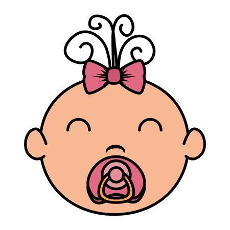cute little baby girl character vector illustration design