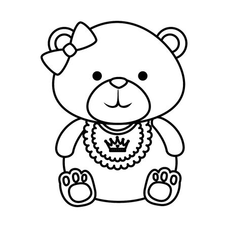 cute bear teddy female with bows vector illustration design  イラスト・ベクター素材