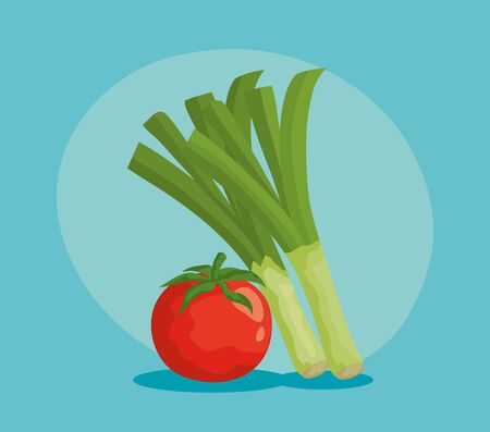 fresh tomato and green onion vegetables and healthy nutrition over blue background, vector illustration Illusztráció