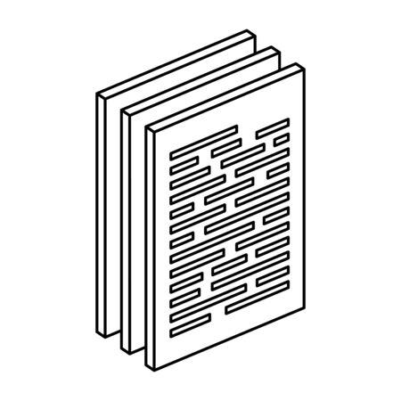 紙文書ファイル分離アイコンベクトルイラスト設計