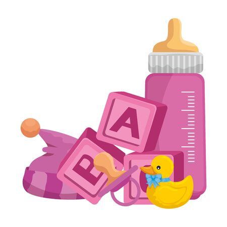 baby milk bottle with toys vector illustration design