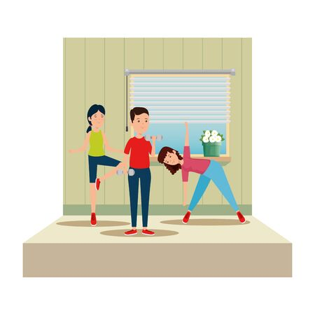 happy athletic people practicing exercice on the gym vector illustration design Çizim