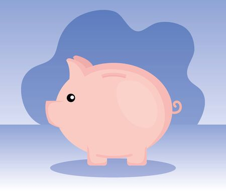 piggy object to save sach money over purple background, vector illustration