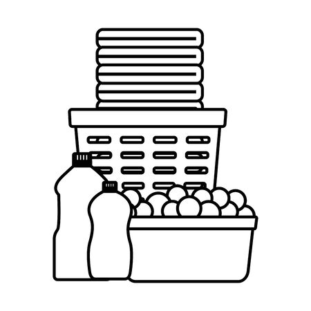 laundry basket bottles bubble spring cleaning tools vector illustration