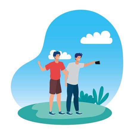young men friends taking a selfie in the park vector illustration design Çizim