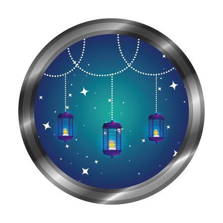 seal with ramadan karem lamps hanging vector illustration design