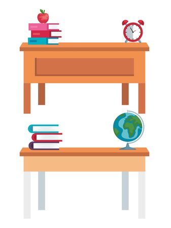 set of desks with books and apple with global map and clock over white background vector illustration Ilustrace