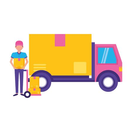 man truck cargo boxes fast delivery vector illustration
