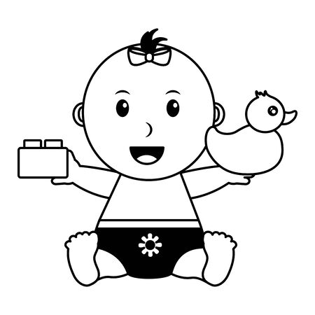baby girl with duck and block toys vector illustration Foto de archivo - 128935226