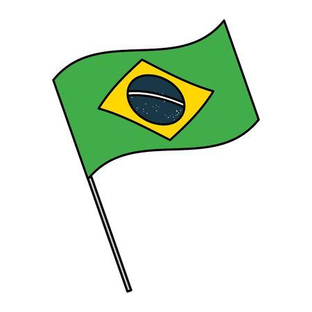 Símbolo de la bandera de Brasil en el asta de la bandera en la ilustración de vector de fondo blanco Ilustración de vector
