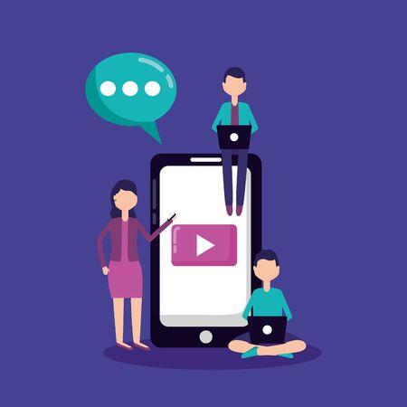 people mobile laptop communication social media vector illustration