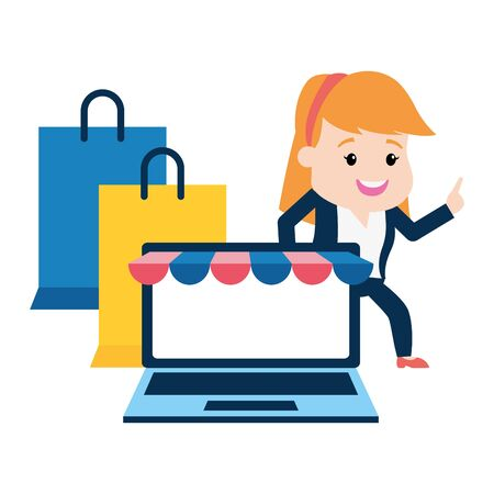 businesswoman online payment laptop shopping bags vector illustration Stock Vector - 128911369