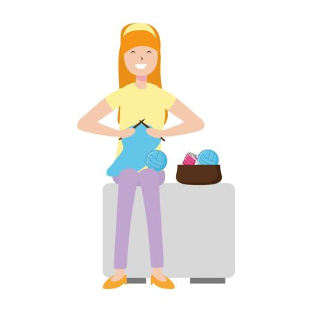woman knitting with wool - my hobby vector illustration Banco de Imagens - 128911412