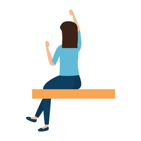 beautiful young woman sitting with hand up vector illustration design